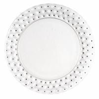 """Suite de 9 Assiettes """"Cactus"""" verre blanc émaillé noir de René LALIQUE"""