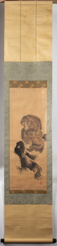 Mori Sosen - Painting of Two Monkeys, Kakemono - Full Picture
