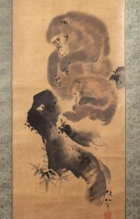 Mori Sosen - Painting of Two Monkeys, Kakemono