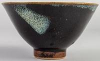 Horst Kerstan - Coupe en grès émaillé noir et bleu de fer