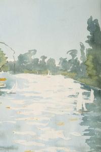 Peinture sur Papier, Bord de Lac avec des Bateaux, Luez, 1990