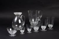 """Service """"Nippon"""" verre blanc de René LALIQUE - 60 verres - 1 carafe - 1 broc"""