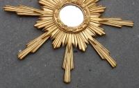 1950/70' Miroir Soleil ,Bois Doré 102 cm