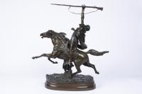 19th century orientalist bronze « The Arab Fantasia »  By Prosper Lecourtier (1851-1924)