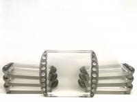 Service Lunch « Ermitage » verre blanc patiné gris de René LALIQUE