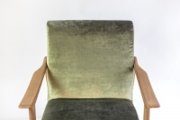Arne Hovmand Olsen, Paire de fauteuils scandinaves teck et velours, vers 1970