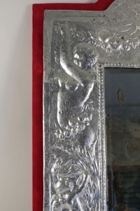 Mirror from the 19th Century in Silver plate. Period Napoleon III