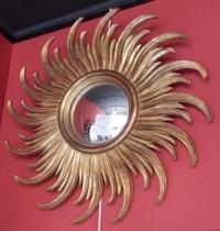 1950/70 ' Miroir Soleil Rayons Tournants Convexe, Bois Doré Diametre 58 Cm