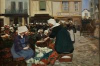 PIET Fernand (Paris 1869, 1942) Ecole Française - Vannes - La place du poids public - daté 1903