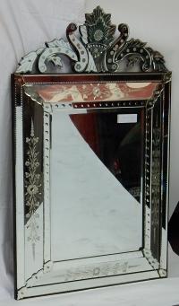 1950' Miroir Vénitien à Bulles et Décor Floral - 129 x 82 cm