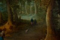 Personnages dans un sous-bois école flamande peinture XVIIème siècle