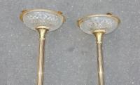 1970' Paire de Cendriers Bronze et Cristal Maison Bagués
