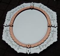 1950/70' Miroir Vénitien Ovale  2 Couleurs 84 X 73 cm