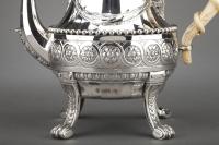 Orfèvre CARDEILHAC - Importante Théière en argent massif et ivoire XIXè siècle