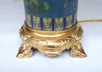 Paire de lampes rouleaux en émaux cloisonnés et bronze doré, circa 1900