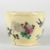 Cache-pot aux oiseaux et fleurs de Théodore DECK ( 1823-1891)
