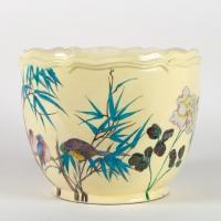 Cache-pot aux oiseaux et fleurs de Théodore DECK