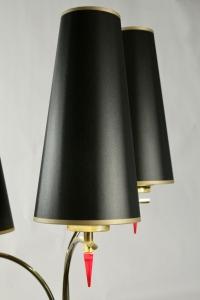 Lampadaire des années 1960 en métal peint et laiton, 3 limières.