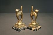 Paire de Chats Cubiste en Bronze