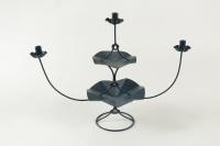 Candélabre à 3 branches en métal peint des années 1960.