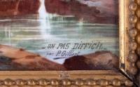 """""""Un pas difficile"""", paire de peintures sur porcelaine de P. Gilbert, 1896."""