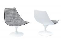Paire de fauteuils pivotant en fibre de verre laquée blanc, années 1970