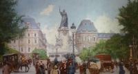 Leon Zeytline Ecole Russe 20è Paris Place De La République Boulevard Du Temple Huile Signée