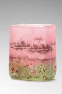 """DAUM Vase miniature à corps quadrangulaire """"Prairie"""""""