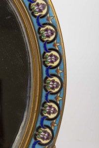 Miroir en émail cloisonné et bronze fin 19e siècle