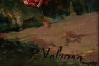 P. Valmon (1850 - 1911) : Jetée de roses sur un entablement.