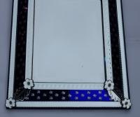 1940/50 ' Miroir N3 Venise Rectangulaire à Fronton Avec Cadre en Verre Bleu Orné D Etoiles Argentées  Centre Biseauté