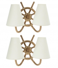1950s Pair of Audoux & Minet Marin Rope Sconces