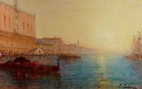 Calderon Charles Clément Peinture Venise Le Bassin De Saint Marc Ensoleillé Huile Toile Signée