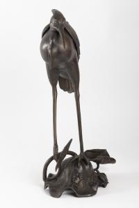 Héron en bronze époque Edo