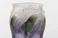 """Vase """"Vagues et Poissons"""" pâte de verre violette, verte et blanche de Gabriel ARGY-ROUSSEAU"""