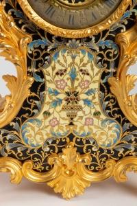Garniture de cheminée XIX en bronze doré et émaillé cloisonnés Napoléon III