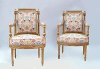 Paire de fauteuils à la reine à colonnes détachées en bois doré, style Louis XVI, circa 1880