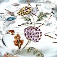"""Vase Brûle-Parfums """"Vol d'un Lépidoptère parmi des Gaillardes"""" verre clair de lune émaillé d'Emile Gallé"""