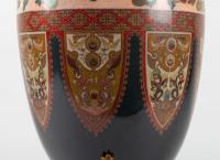 Vase en émail cloisonné monture de bronze doré, chien de Fô et bambou