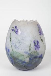 """Daum Vase œuf """"Violettes"""""""