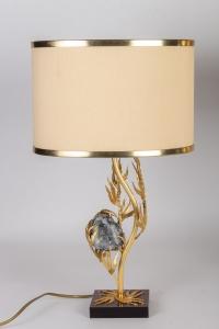 Paire de lampes par Willy DARO, années 1970 en laiton doré et célestine