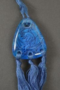 """René Lalique Pendentif """"Graines""""bleu"""