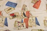 """Grand plaid """"Jeux de cartes""""  haute qualité 100% Lin fabriqué en Italie"""