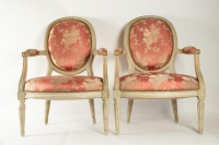 Paire of pretty cameo backed armchairs in the style of Louis XVI.  Late 19th Century or early 20th. Pink silk damask.