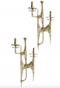 1960s Set of 4 Gilded Bronze Sconces Attributed to Felix Agostini