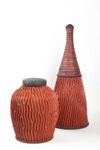 Boite strie par Emmanuel Peccatte ( 1974 - 2015) - céramique contemporaine
