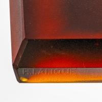 """Encrier """"Biches"""" complet verre rouge ambré de René LALIQUE"""