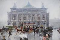 Alfredo PALMERO DE GREGORIO Tableau 20è siècle Paris Place de l'Opéra animée Huile sur toile signée