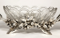 Jardinière in silvered bronze and crystal by C. CHRISTOFLE