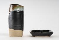 Aisaku Suzuki - Vase et coupe en grès émaillé. France, années 70